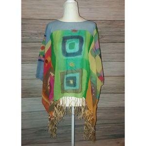 Tops - OOAK Silk Handcrafted Fringe Kimono Top M L